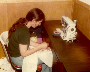 My mother, sewing
